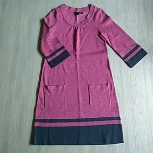 {Boden} Berry Navy Striped Sweater Dress 10R/ US6